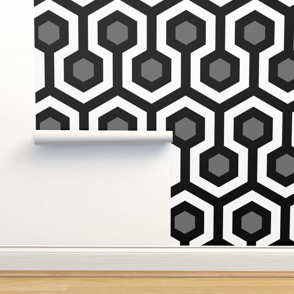 Shining Hallway Carpet Black And White On Isobar By Salg Roostery Home Decor