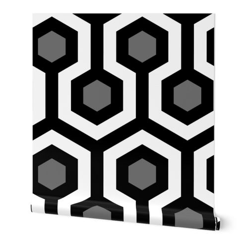 Shining Hallway Carpet Black And White Spoonflower