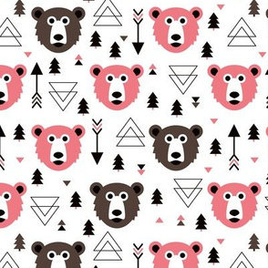 Christmas tree grizzly bear with arrows and geometric triangle shapes fall pink brown