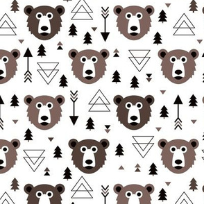 Christmas tree grizzly bear with arrows and geometric triangle shapes winter fall