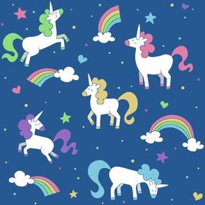 Pretty Little Unicorns on Blue