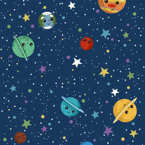 Outer Space Cuteness on Blue