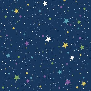 Starry Space on Blue