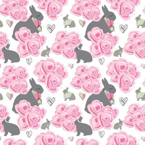 Bunnies in my roses, Shabby Chic watercolor roses, pink and gray