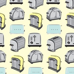 16-12C  Toast Vintage Retro Kitchen Toaster || 50s Toast  Breakfast Food  Pastel yellow blue gray grey _Miss Chiff Designs