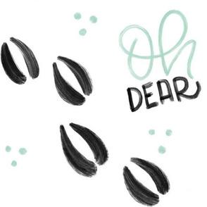 Oh dear - Mint Deer tracks - Big patterns