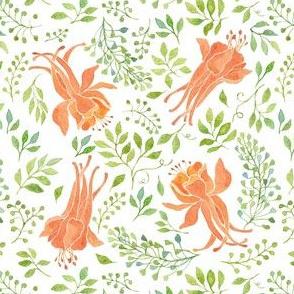 Orange flowers and green leaves watercolor pattern