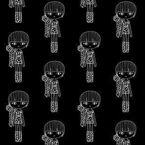 braid girl black and white fashion