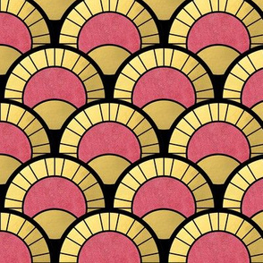 All the Gatsby you Need Pink and Gold Art Deco Fan Pattern
