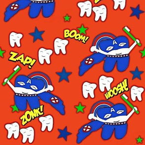 Captain Tooth Brightening America one Tooth at a Time -Superhero Red Blue