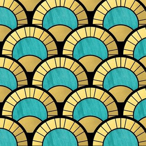 Duck Egg  and Gold Art Deco Fan Pattern