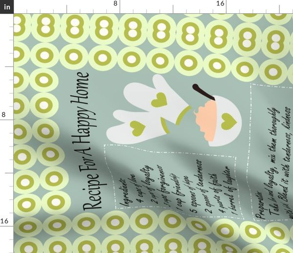 Recipe For A Happy Home Tea Towel Spoonflower