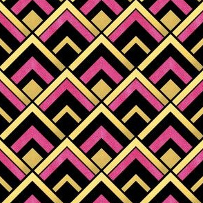 Pink and Gold Art Deco Diamond Pattern