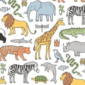 Zoo Jungle Animals Doodle with Panda, Giraffe, Lion, Tiger, Elephant, Zebra,  Birds