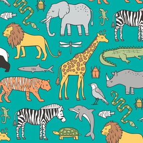Zoo Jungle Animals Doodle with Panda, Giraffe, Lion, Tiger, Elephant, Zebra,  Birds on Green