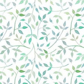 Mint coloured watercolour leaves
