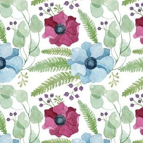 Blue and Deep Red Anemones Pattern