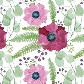 Pink and Deep Red Anemones Pattern