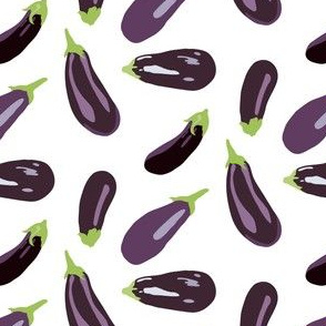 16-13P Eggplant Vegetable Food Garden Gardener White Aubergine _Miss Chiff Designs