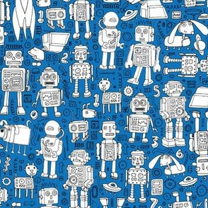 Robot Pattern - blue and white