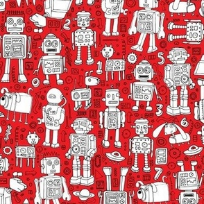 Robot Pattern - red and white