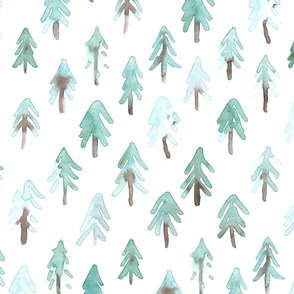Fir trees, pinetrees light watercolor