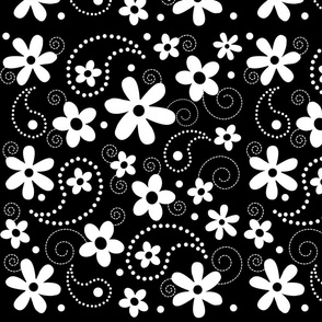 Paisley Abloom White & Black
