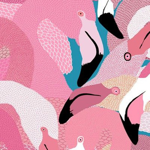 Flamingoes in Pink and Turquoise - LARGE