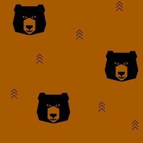 Geo bears - black bear on rusty red ||by sunny afternoon