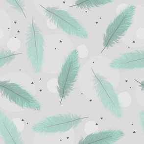 mint feathers on grey