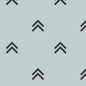 Arrows triangles mountains - graphite on seafoam pale blue || by sunny afternoon