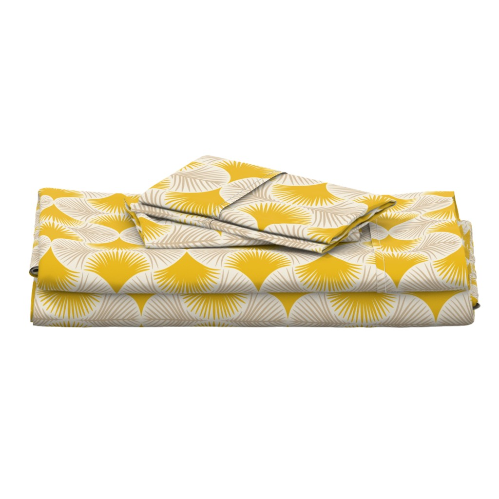 Langshan Full Bed Set featuring Tropical geometry - yellow by innamoreva