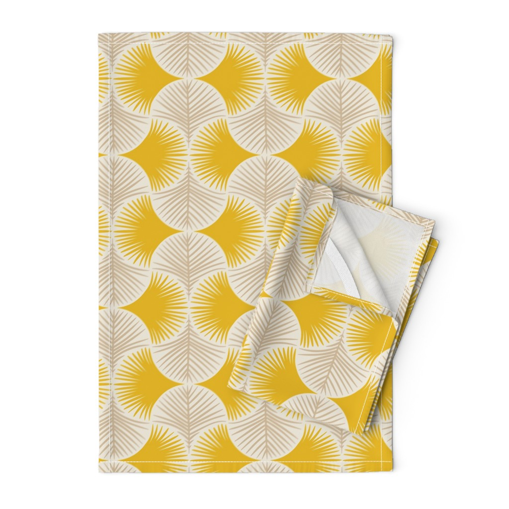 Orpington Tea Towels featuring Tropical geometry - yellow by innamoreva