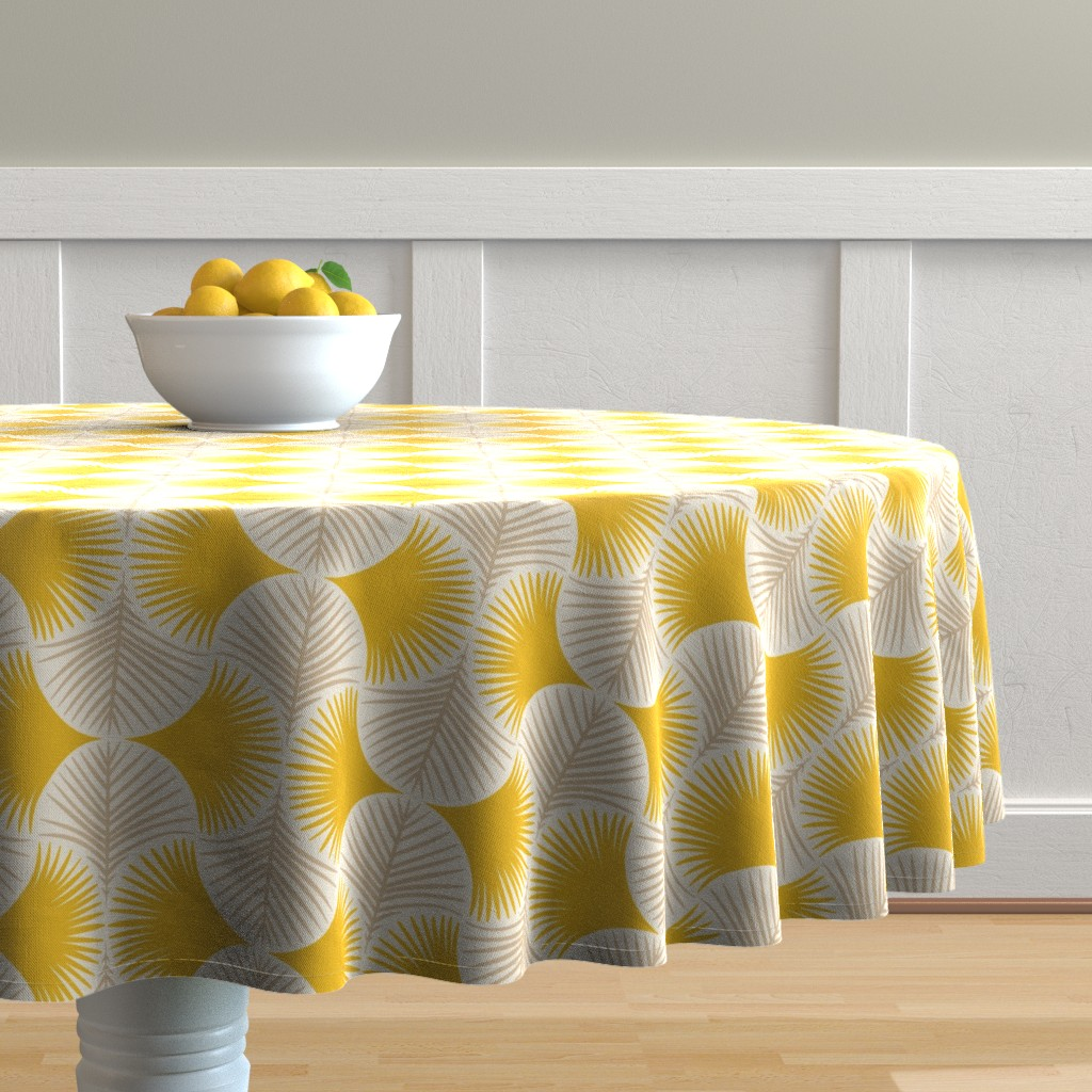 Malay Round Tablecloth featuring Tropical geometry - yellow by innamoreva