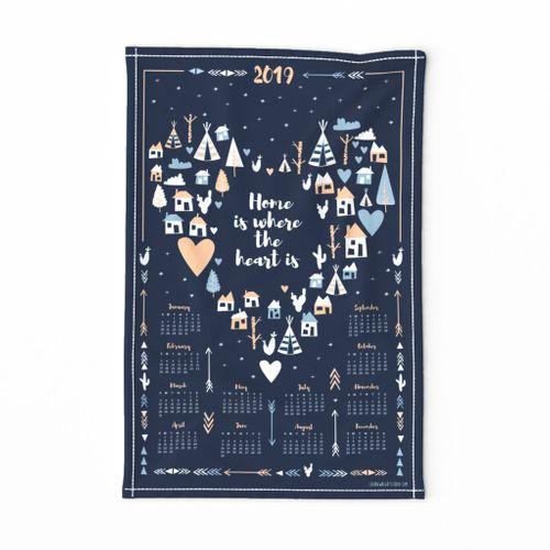 2019 tea towel calendar - home sweet