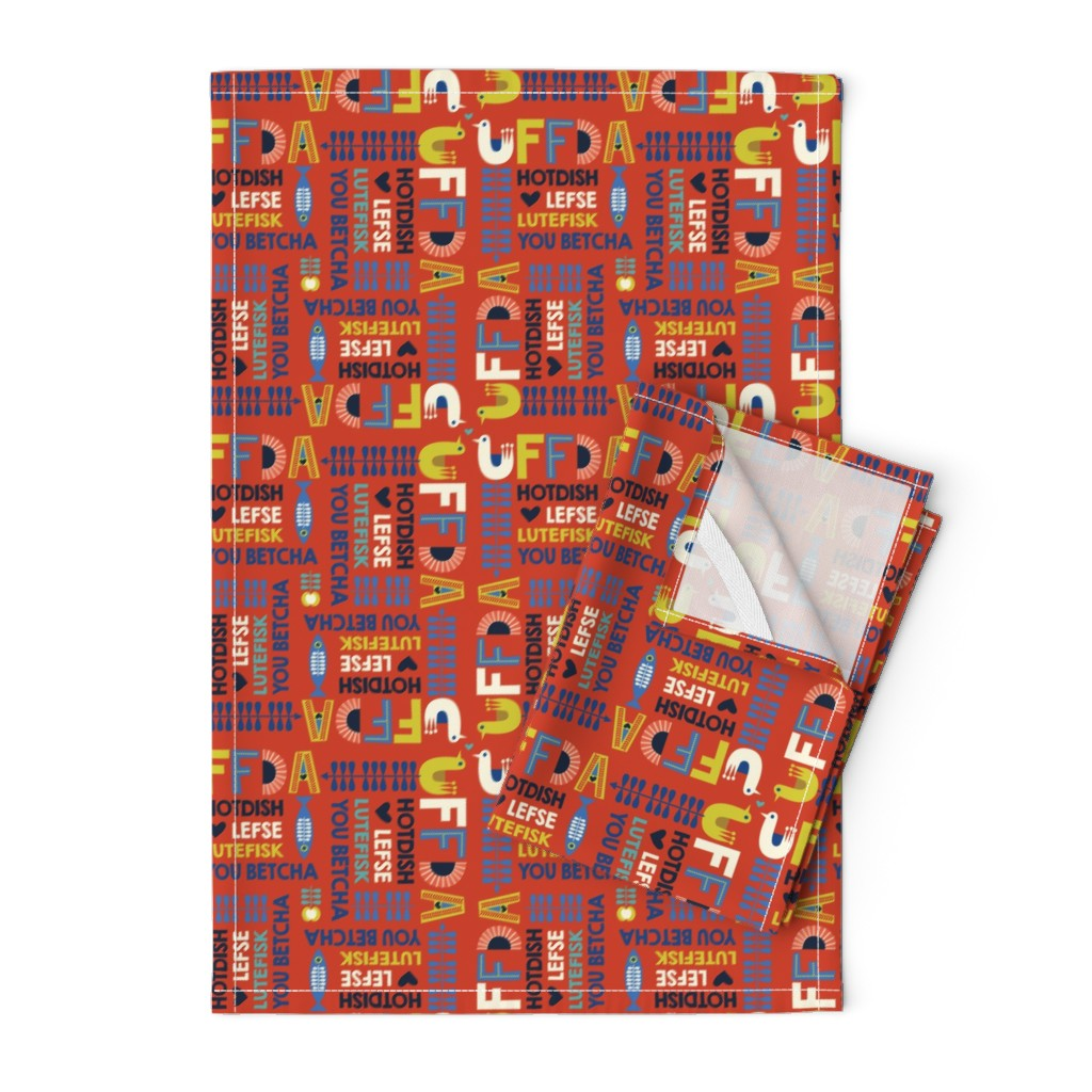 Orpington Tea Towels featuring uffda_red by teresamagnuson
