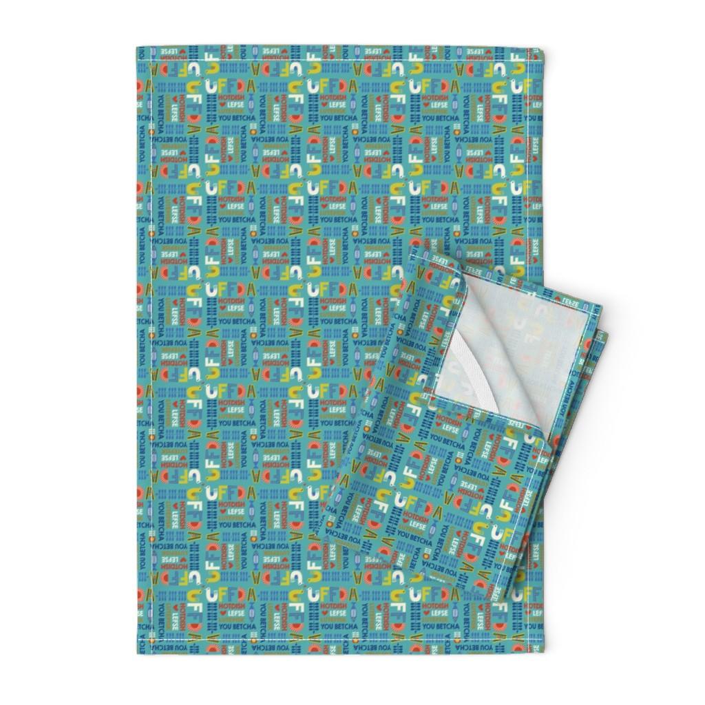 Orpington Tea Towels featuring uffda_aqua by teresamagnuson