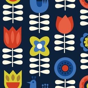 scandinavian floral navy LG