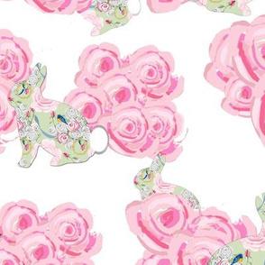Bunnies in my garden of pink roses
