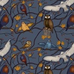 Snowy Owl and friends in deep blue by Salzanos