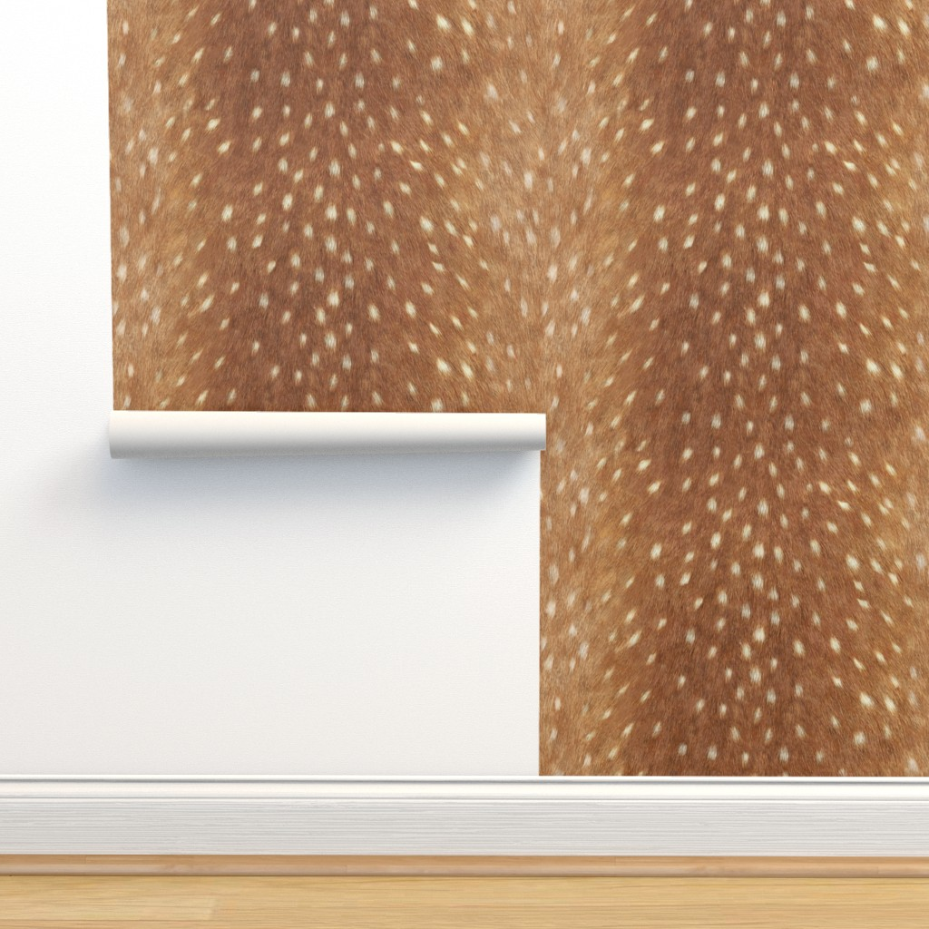 Isobar Durable Wallpaper featuring Soft Deer Hide // Spring Fawn by willowlanetextiles