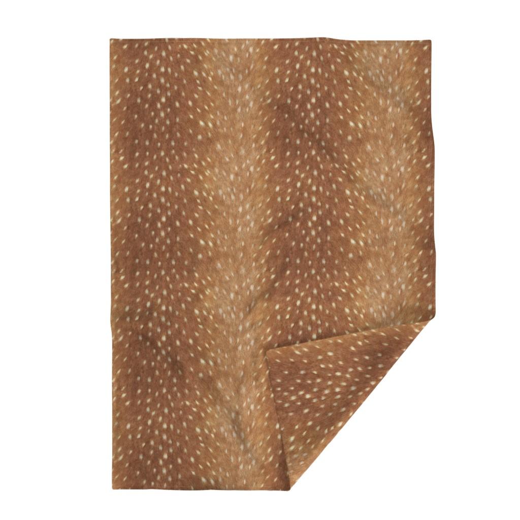 Lakenvelder Throw Blanket featuring Soft Deer Hide // Spring Fawn by willowlanetextiles