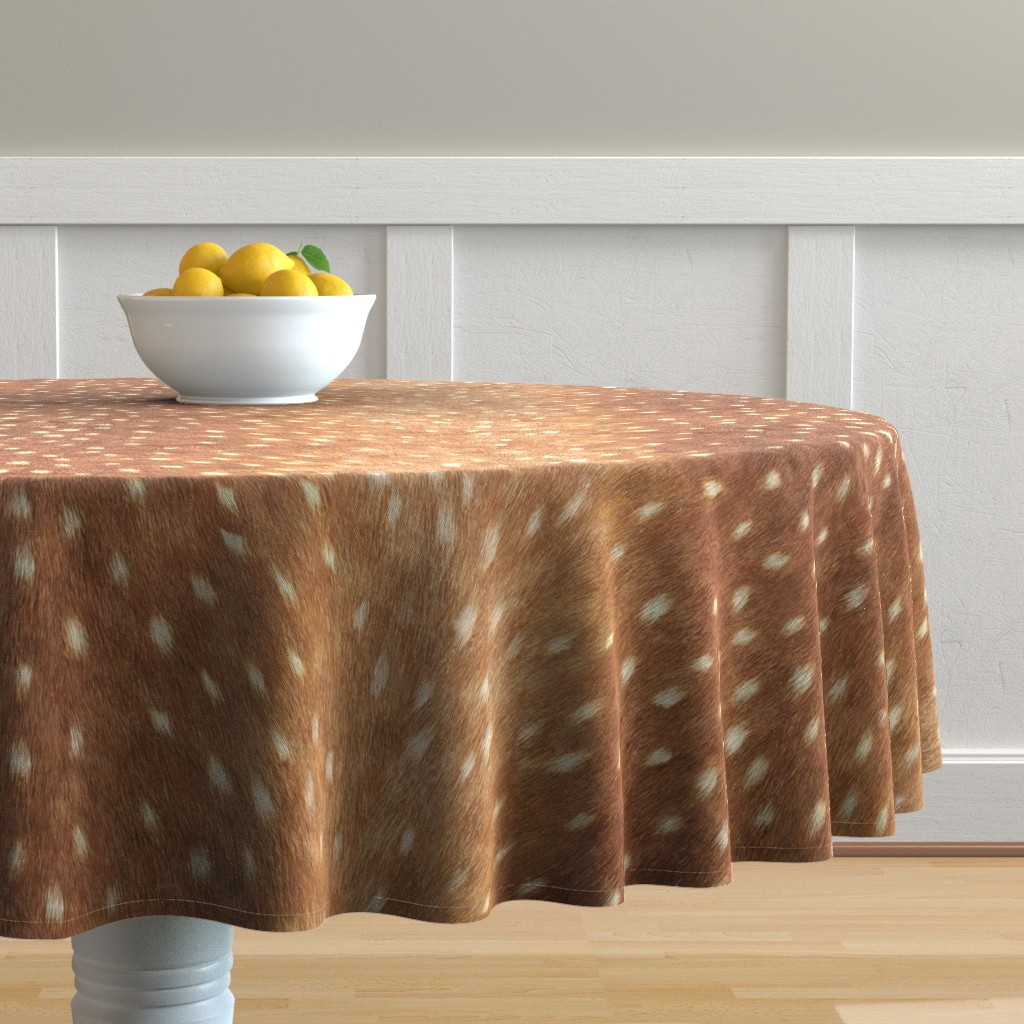 Malay Round Tablecloth featuring Soft Deer Hide // Spring Fawn by willowlanetextiles