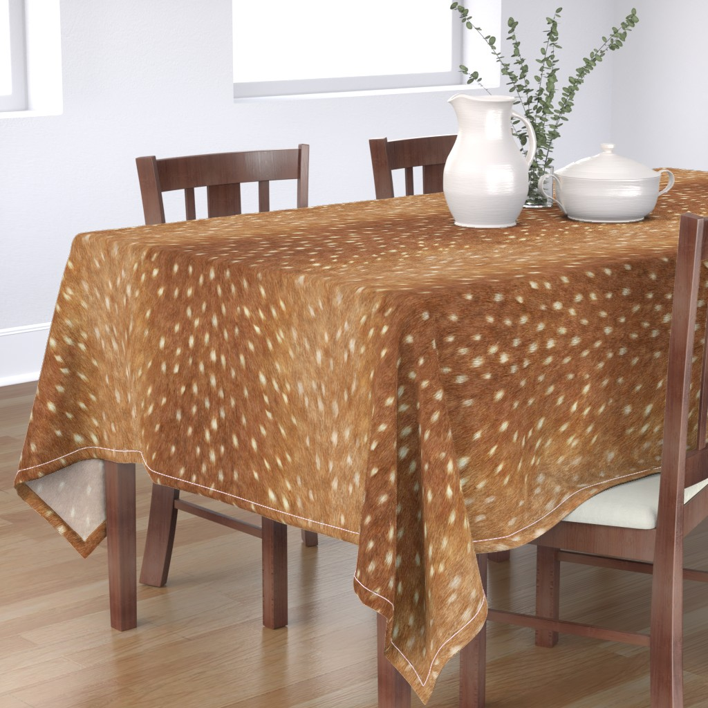 Bantam Rectangular Tablecloth featuring Soft Deer Hide // Spring Fawn by willowlanetextiles