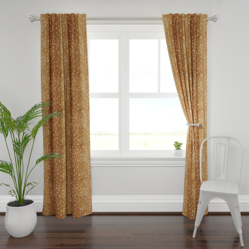 Plymouth Curtain Panel featuring Soft Deer Hide // Spring Fawn by willowlanetextiles