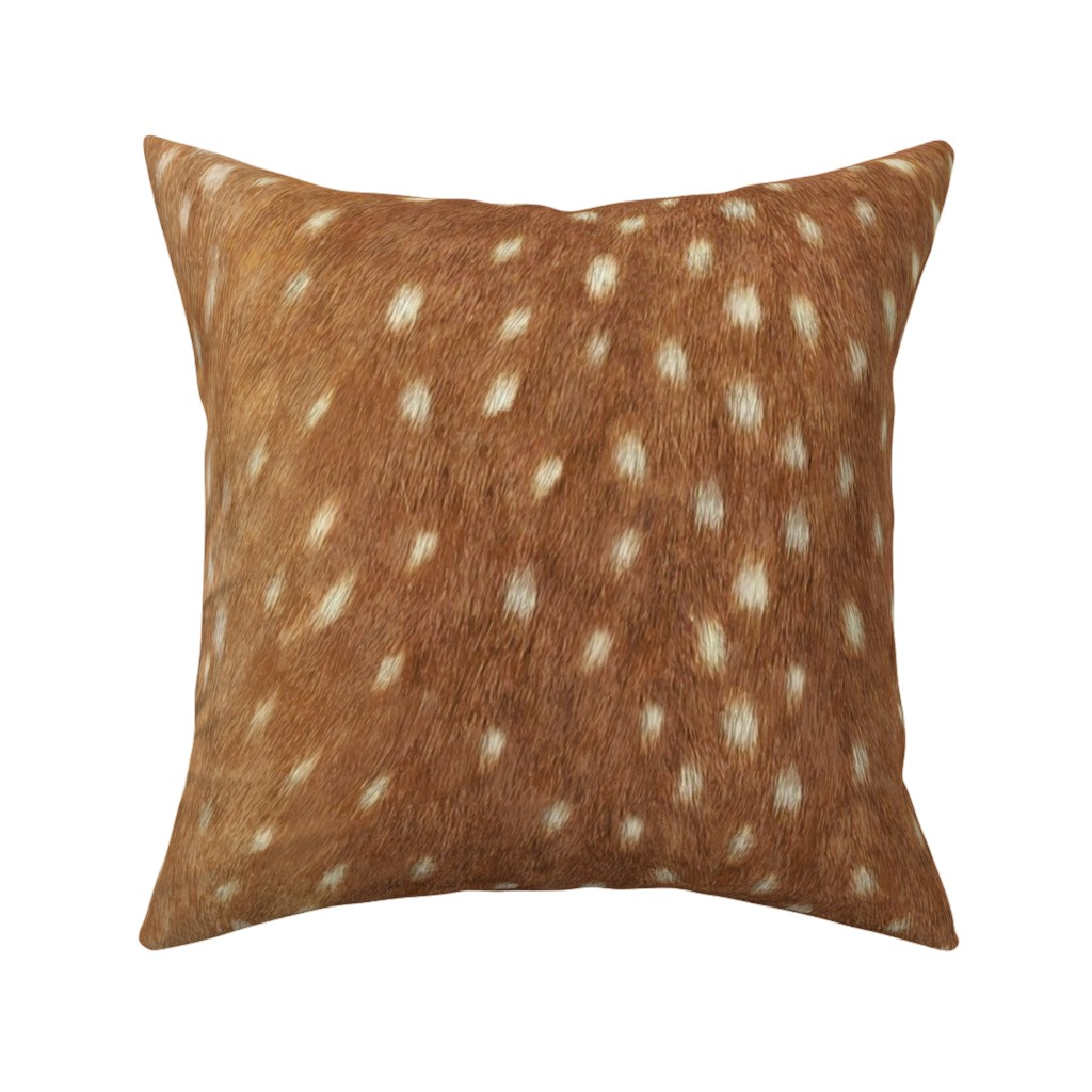 Catalan Throw Pillow featuring Soft Deer Hide // Spring Fawn by willowlanetextiles