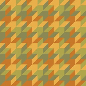 harlequin houndstooth - copper and olive