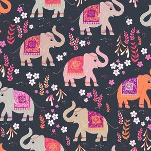 Elephants in the Flower Garden