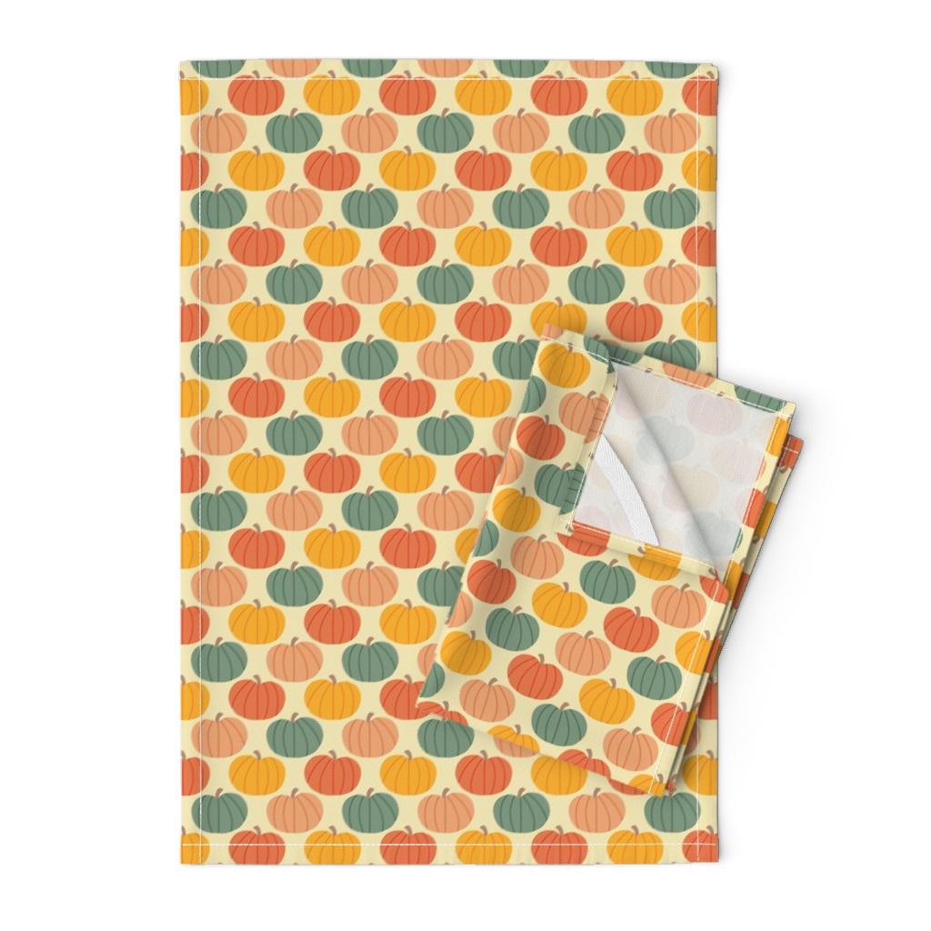 Orpington Tea Towels featuring Pumpkin Patch by taylorshannon