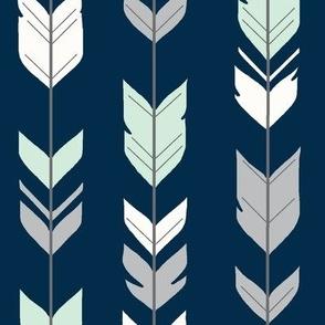 arrow Feathers- navy/mint/grey